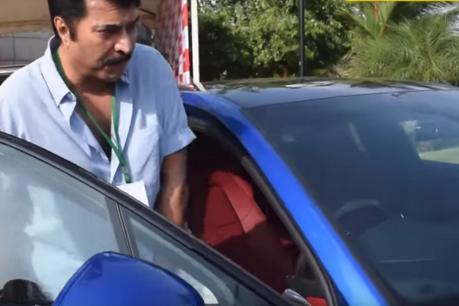 പോർഷേ ഓടിച്ച് താരമായി മമ്മൂട്ടി VIDEO